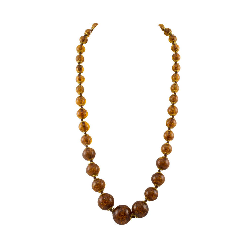 Just Give Me Jewels Genuine Venice Graduated Murano Sommerso Aventurina Glass Bead Strand Necklace in Amber