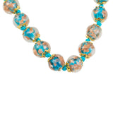 Just Give Me Jewels Teal Murano Glass Necklace and Earrings Set