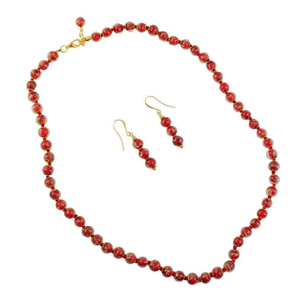 Just Give Me Jewels Genuine Venetian Murano Sommerso Aventurina Gold Foil Matching Necklace and Earrings Set - Red