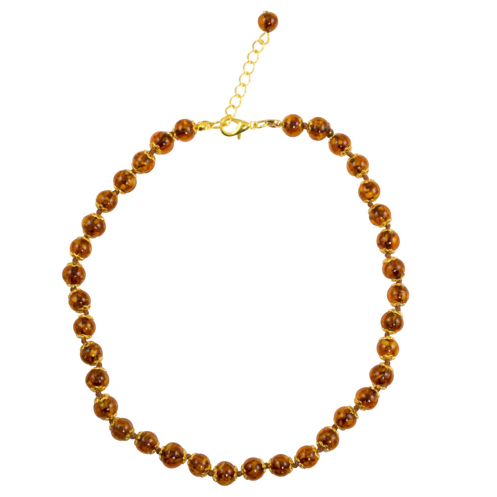 "Genuine Venice Murano Sommerso Aventurina Glass Bead Strand Necklace in Amber, 16+2"" Extender"
