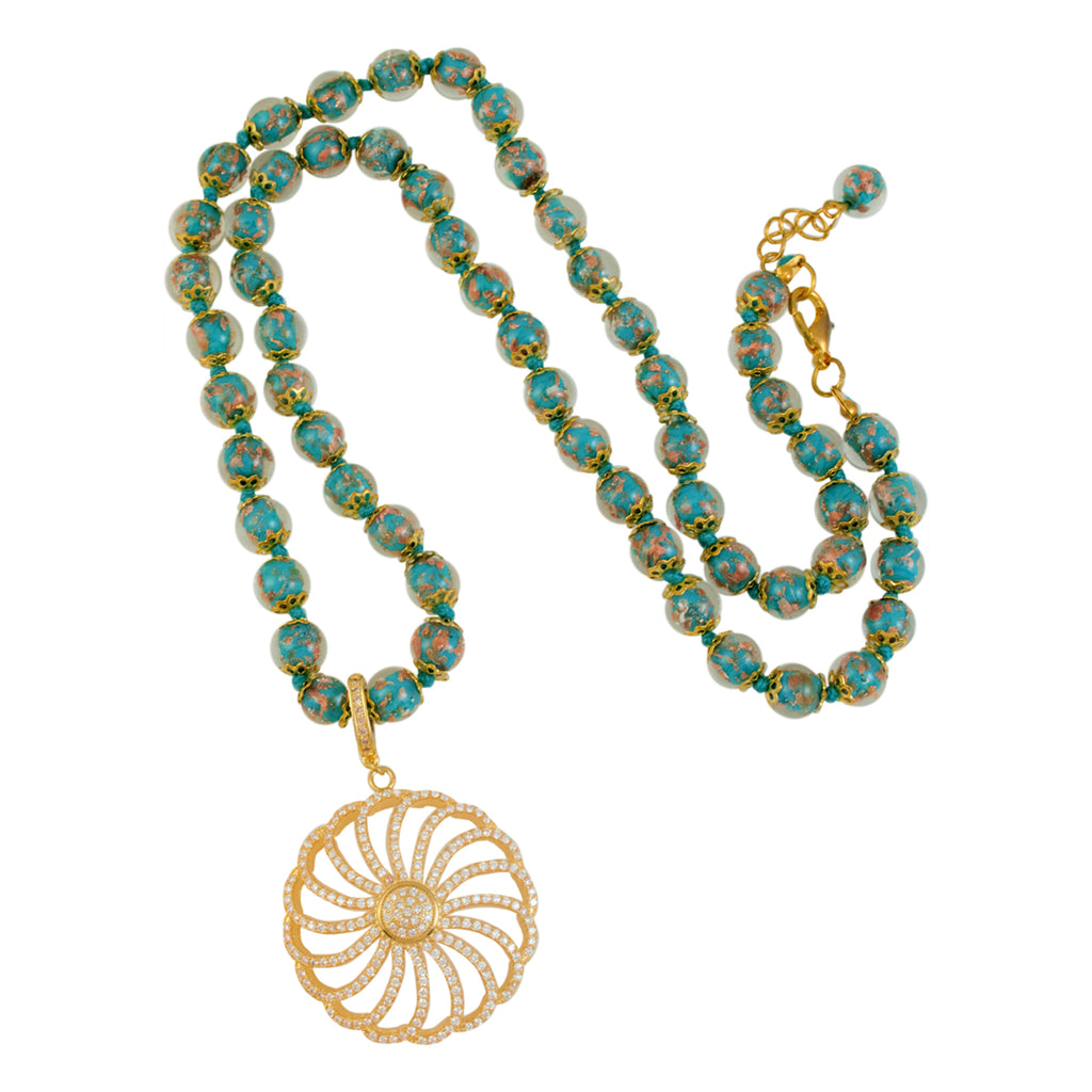 Genuine Venetian Murano Sommerso Aventurina Teal Strand Necklace with Gold Plated Pave Flower Pendant 28""