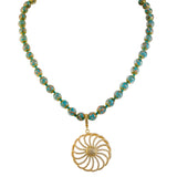 Genuine Venetian Murano Sommerso Aventurina Teal Strand Necklace with Gold Plated Pave Flower Pendant 28