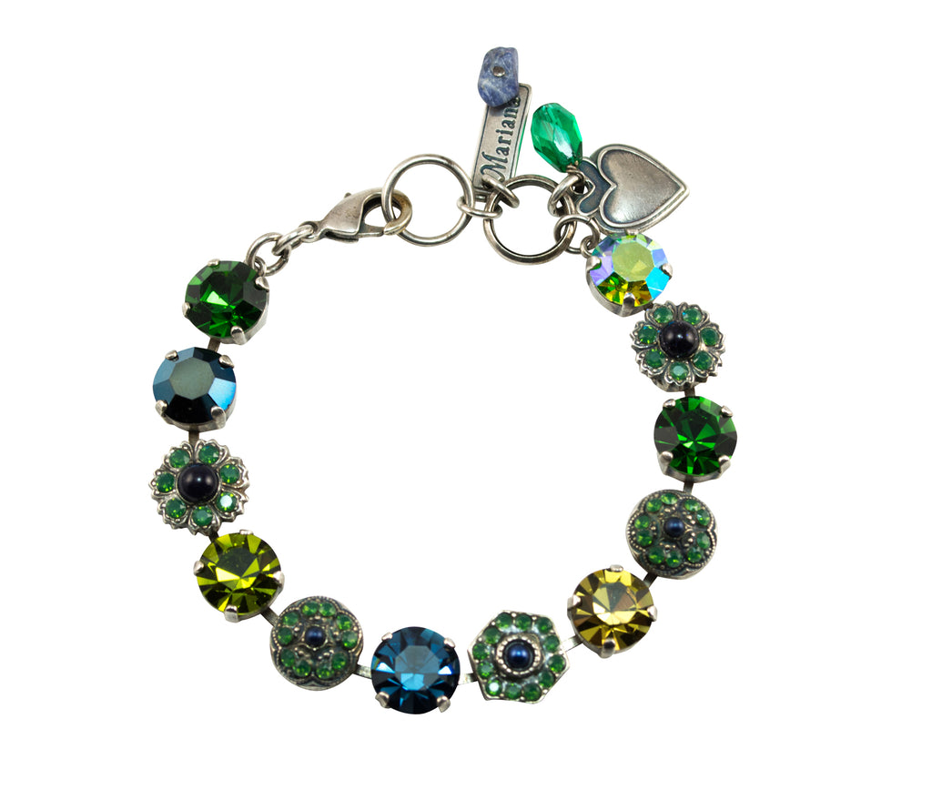 Mariana Antique Silver Flower Shapes Crystal Tennis Bracelet