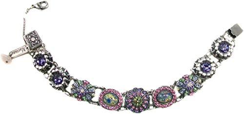 "Mariana ""Sweet Summer"" Silver Plated Swarovski Crystal and Czech Glass Link Flower Bracelet"