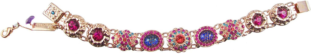 "Mariana ""Sorbet"" Rose Gold Plated Swarovski Crystal Big Jewel Link Flower Bracelet, 7.5"""