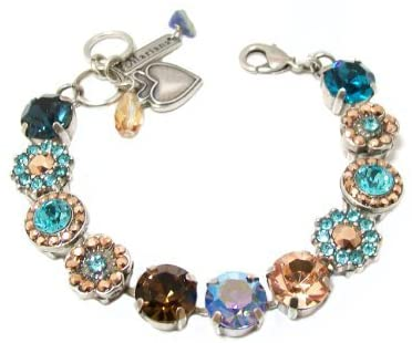 "Mariana ""Blue Suede Shoes"" Antique Silver Plated Swarovski Crystal Tennis Bracelet"