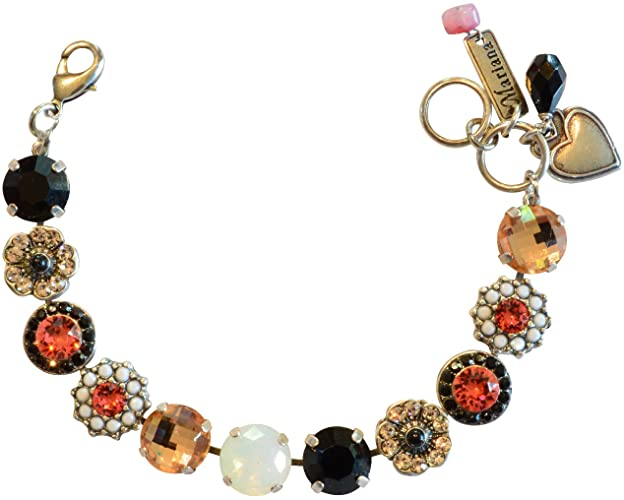 "Mariana ""Pomegranate"" Antique Silver Plated Swarovski Crystal Tennis Bracelet"
