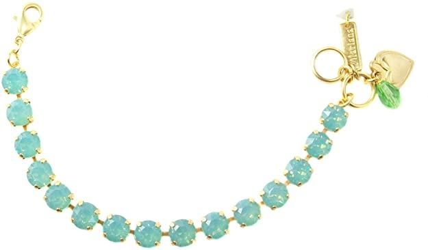 Mariana Yellow Gold Plated Pacific Blue Swarovski Crystal Tennis Bracelet