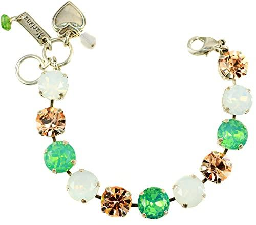 "Mariana ""Seaside Day"" Antique Silver Plated Large Stone Swarovski Crystal Tennis Bracelet, 7.5"""