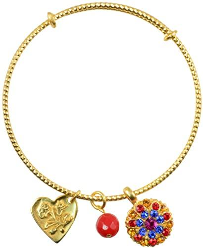 "Mariana ""Fantasy"" Gold Plated Guardian Angel Swarovski Crystal Adjustable Bangle Bracelet"