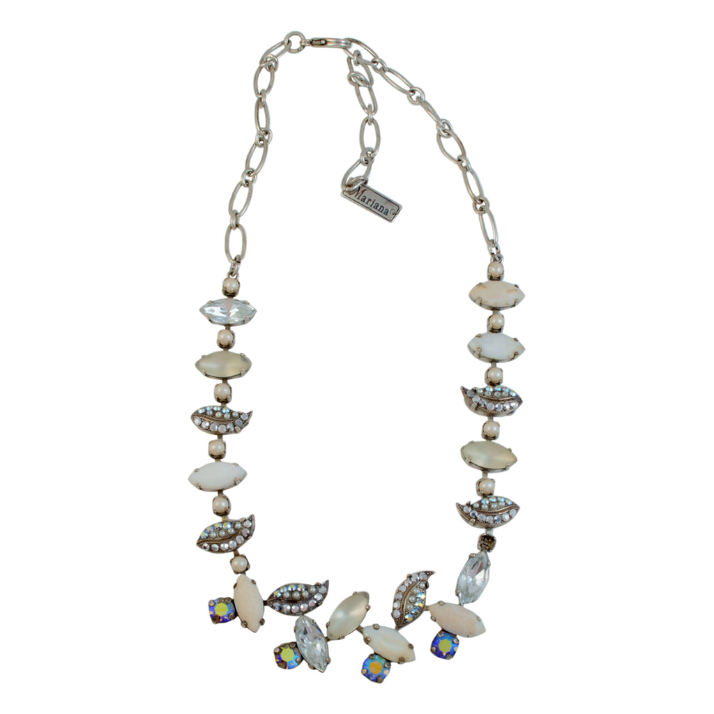 "Mariana Gardenia Antique Silver Plated Swarovski Crystal Leaves Necklace, 16+4"" Extender"