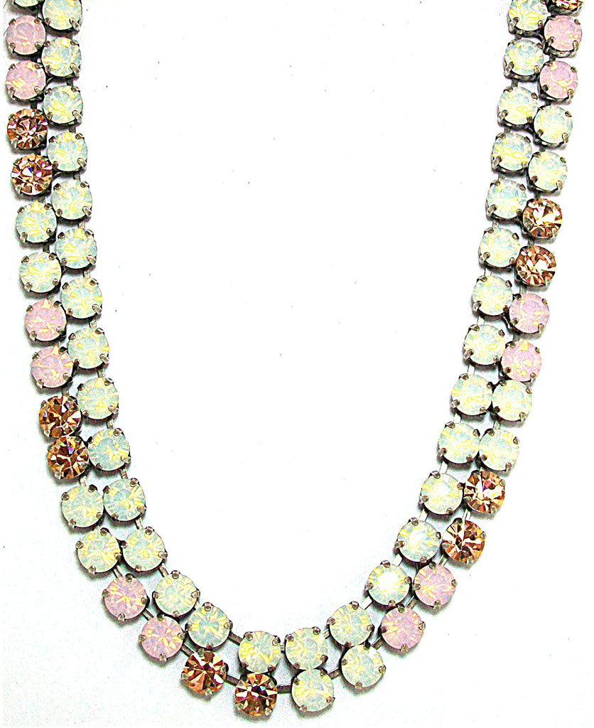 "Mariana ""Tiara Day"" Antique Silver Plated Swarovski Crystal Double Layer Statement Necklace, 16+5"" Extender"