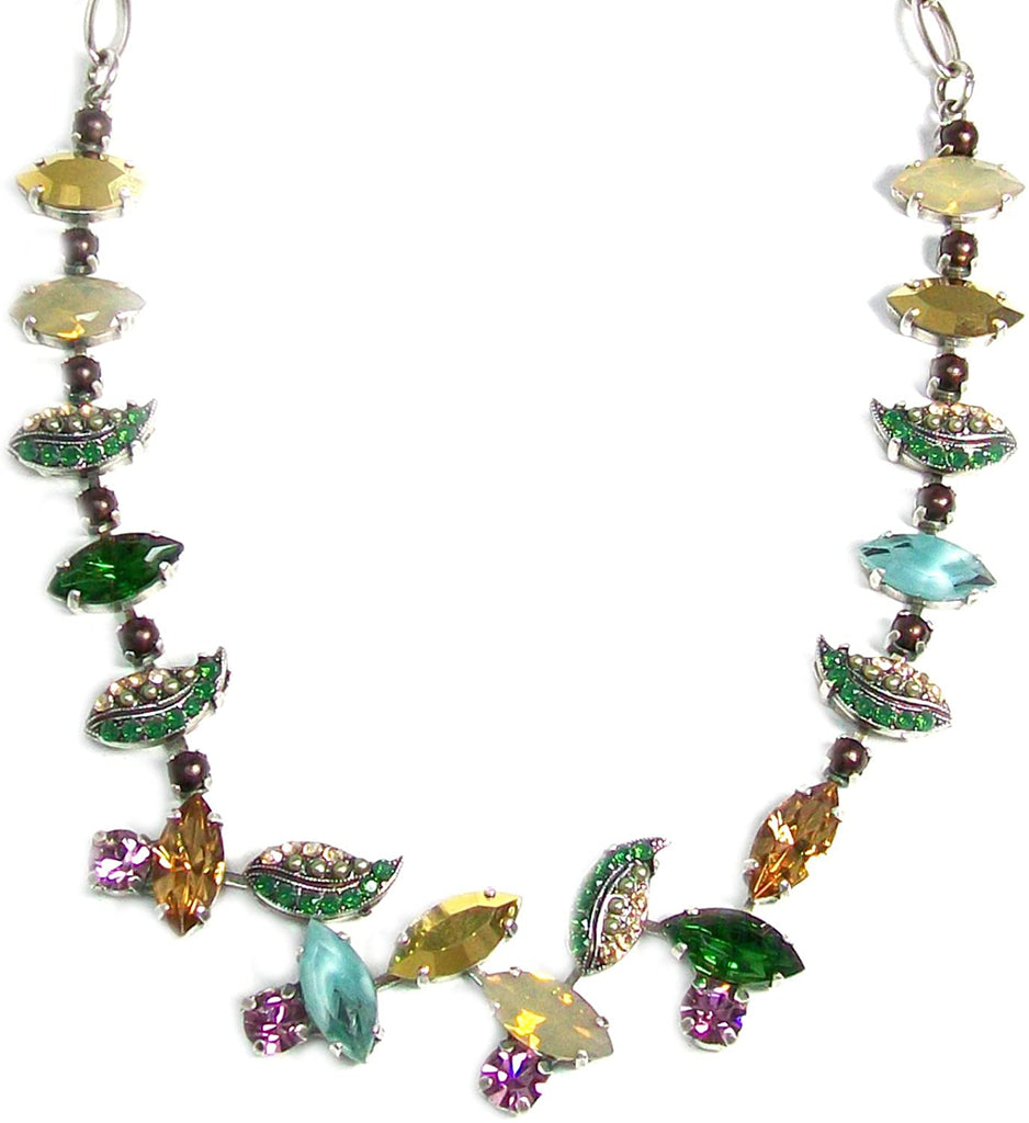 "Mariana ""Goldfinger Antique Silver Plated Swarovski Crystal Collar Leaf Necklace, 16+2"" Extender"