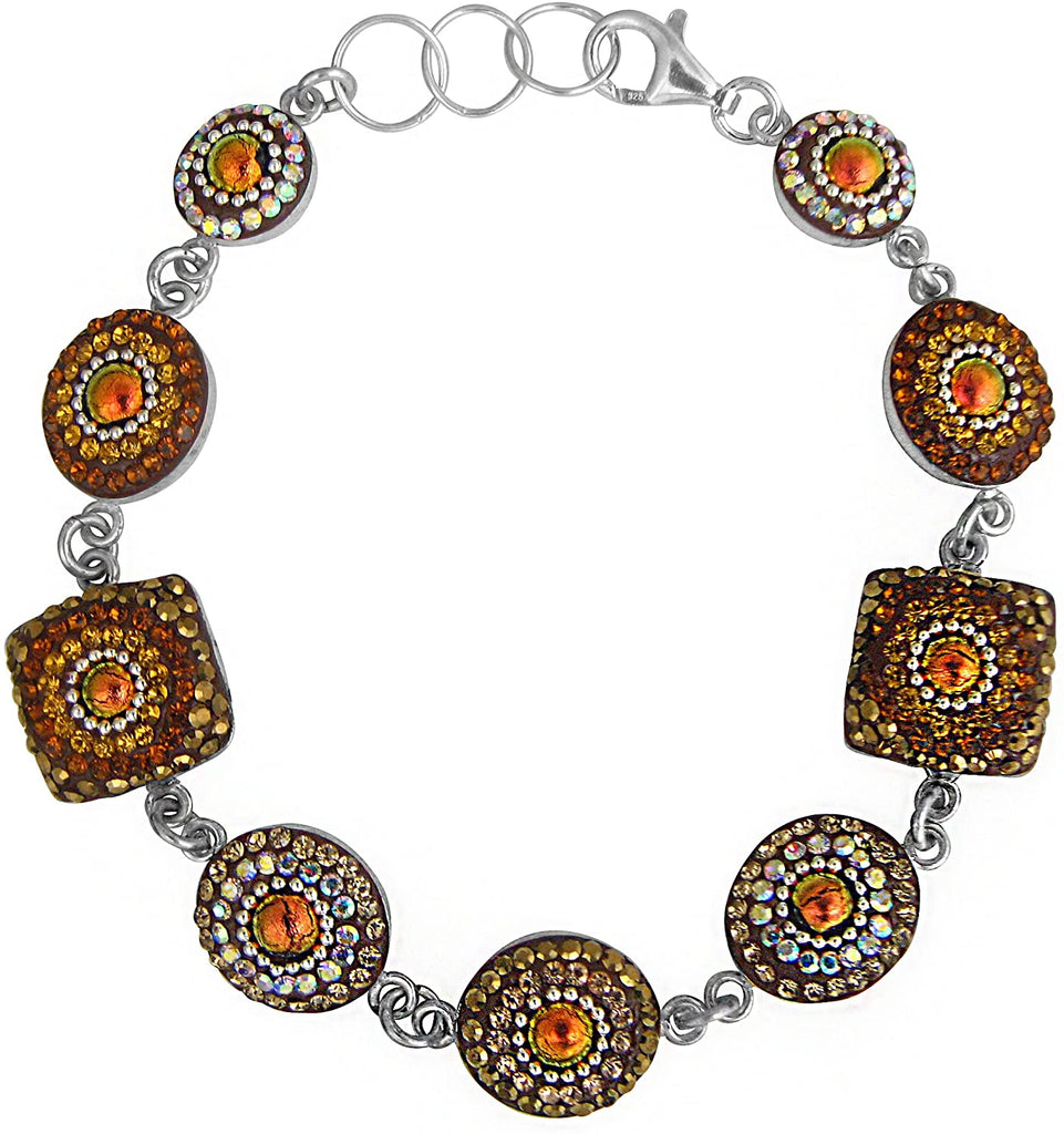 Dreamglass Mexico Mosaico Sterling Silver Dichroic Glass and Preciosa Czech Crystals Link Bracelet - 8625G