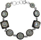 Dreamglass Mexico Mosaico Sterling Silver Dichroic Glass and Preciosa Czech Crystals Link Bracelet - 8625I