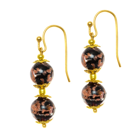 Genuine Venice Murano Sommerso Aventurina Glass Bead Dangle Earrings - Black