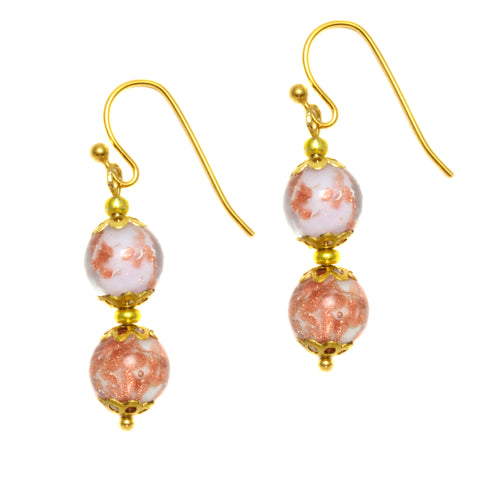 Genuine Venice Murano Sommerso Aventurina Glass Bead Dangle Earrings - Lavender