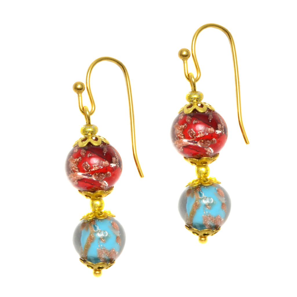 Genuine Venice Murano Sommerso Aventurina Glass Bead Dangle Earrings - Multi