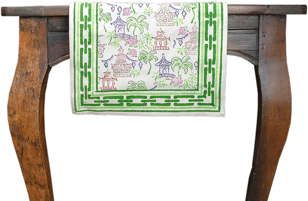 "Palms and Pagodas Uniquely Vibrant Table Runner - 14"" x 108"""