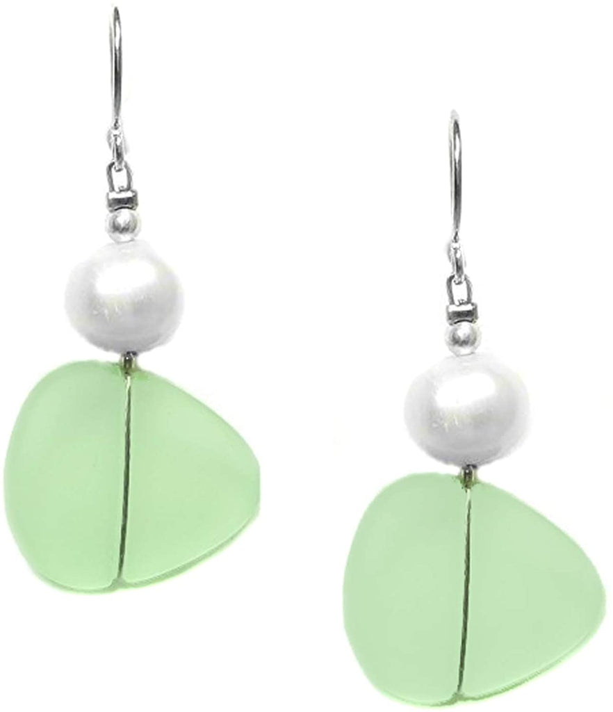 Just Give Me Jewels Solares Recycled Sea Glass and Freshwater Pearl Dangle Earrings