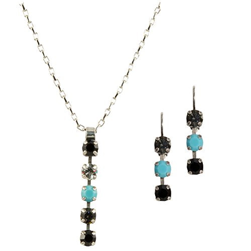 Mariana Antique Silver Plated Swarovski Crystal Pendant Necklace and Earrings Set (Zanzibar)