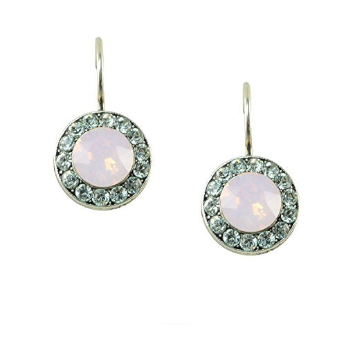 Mariana Antique Silver Plated Petite Round Swarovski Crystal Drop Earrings (Rose) - 1129 1340