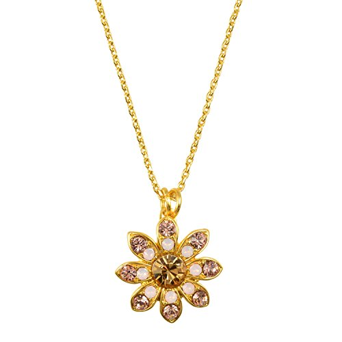 Mariana Antique Silver Plated Swarovski Crystal Pendant Necklace (Golden Tulips) - 5346 3192