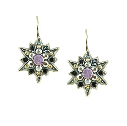 Mariana Antique Silver Plated Star Burst Drop Earrings with Swarovski Crystals (Discover) - 1420 1029