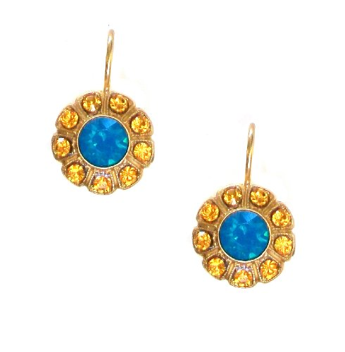 Mariana Yellow Gold Plated Swarovski Crystal Flower Earrings (Jasmine) - 1131 1323