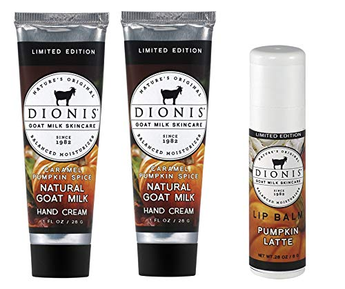 Dionis Goat Milk Hand Cream and Lip Balm 3 Piece Gift Set - Caramel Pumpkin Spice & Pumpkin Latte