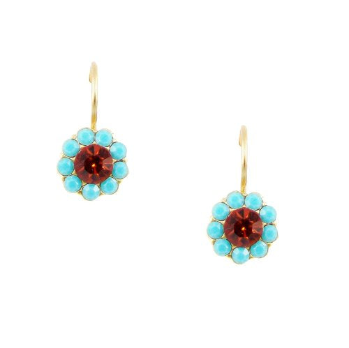 Mariana Rising Sun Gold Plated Swarovski Crystal Flower Drop Earrings - 1379-1317