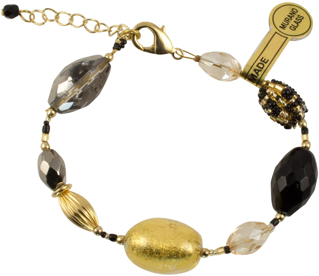 Gold Plated Murano Black Gold Foil Glass Bead Link Bracelet - Olivia