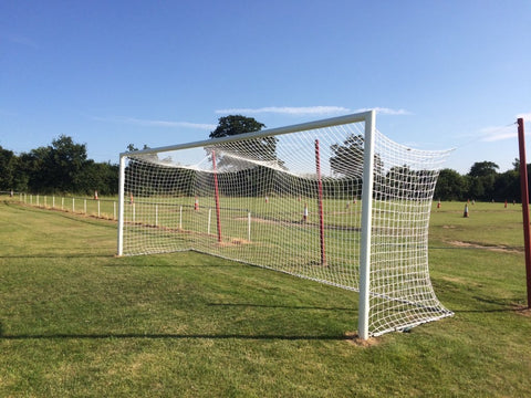 Euro Box Style Football Goal Nets - Senior White (24ft x 8ft) - Sportnetting