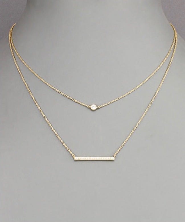 CZ Bar & Circle Layered Choker