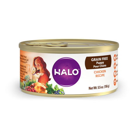 Halo Puppy Grain Free Chicken Recipe Canned Dog Food