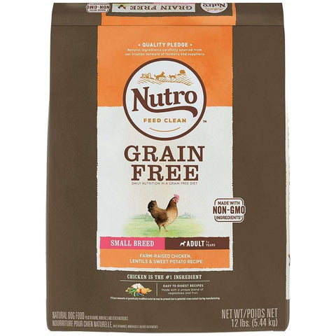 Nutro Grain Free Small Breed Adult Farm-Raised Chicken, Lentils And Sweet Potato Recipe Dry Dog Food