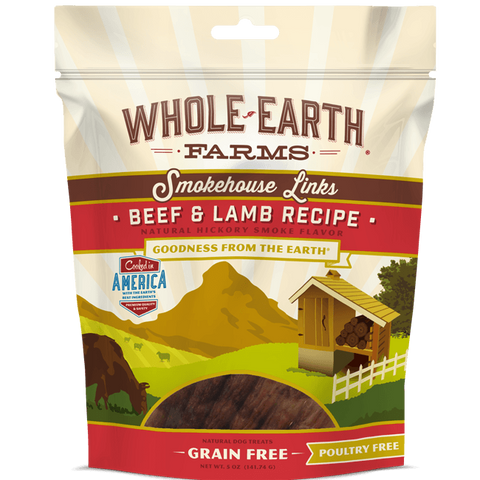 Whole Earth Farms Grain Free Beef & Lamb Smokehouse Links Dog Treats