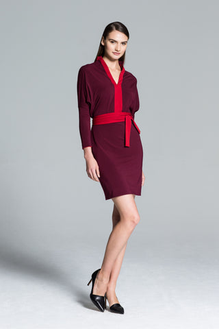 Kyoto Reversible Jersey Dress in Red & Burgundy
