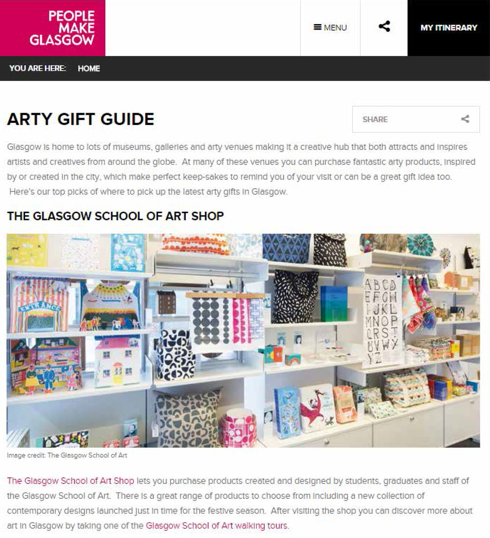 People Make Glasgow - Arty Gift Guide November 2016