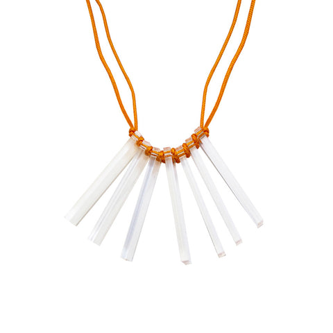 Acrylic cord necklace - orange