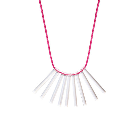 Acrylic cord necklace - pink