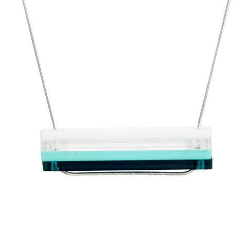 Acrylic slice necklace - teal