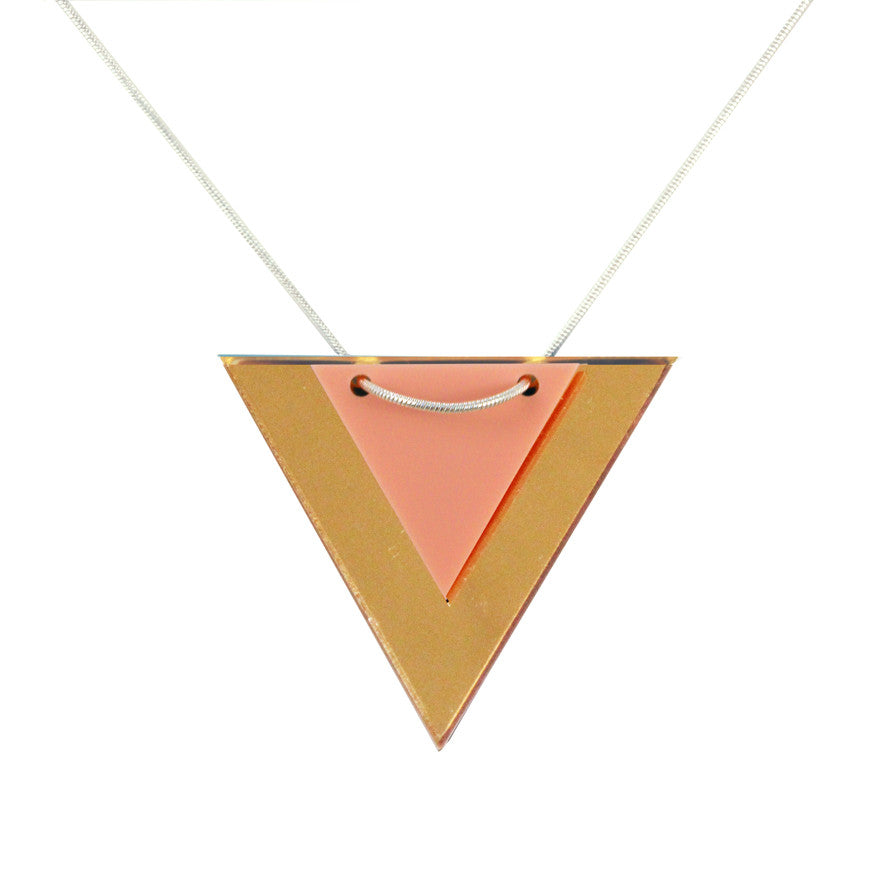 Acrylic triangle necklace - pink