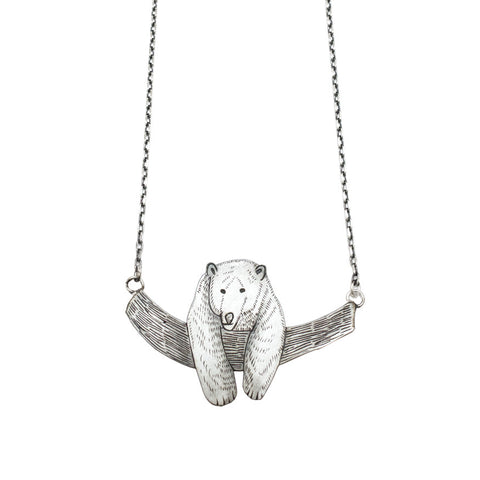 Grizzly bear necklace - silver