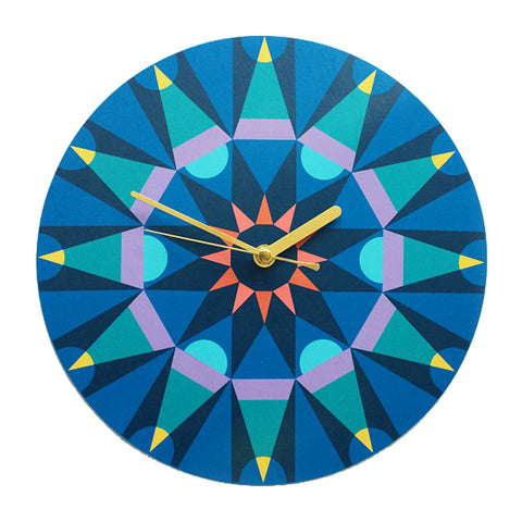 Big time kaleidoscope clock - blue