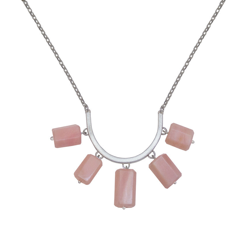 Big tassel necklace - pink opal
