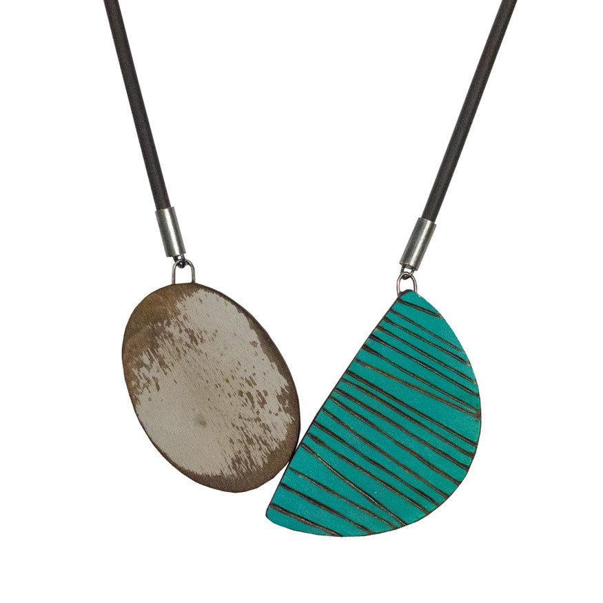 Creel rubber pendant - grey and turquoise
