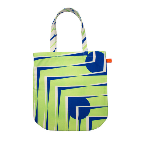 Printed tote bag - green & blue