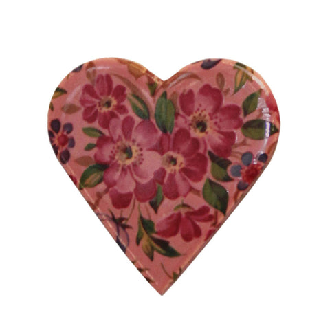 Ceramic heart brooch - dusky pink
