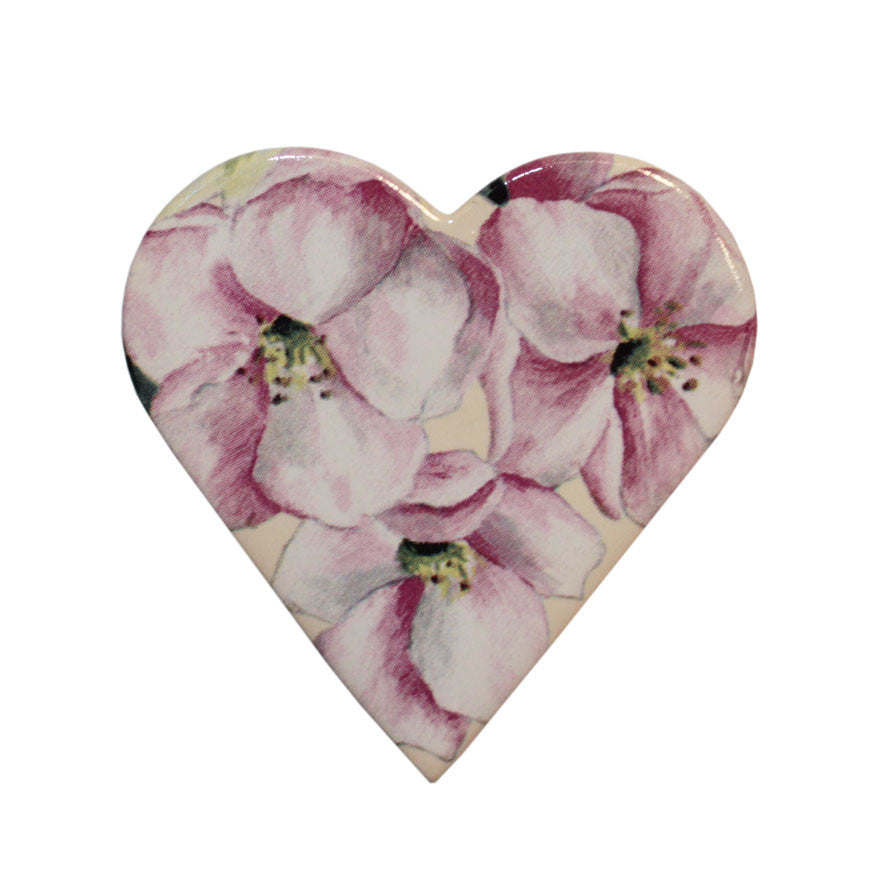 Ceramic heart brooch - petal pink